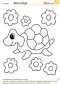 Malvorlage Schildkröte mit Blumen