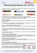 Anwendungshinweise für Stifte