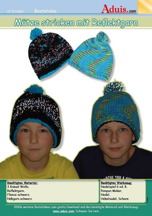 Mütze stricken mit Reflektgarn
