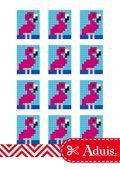 Pixel Vorlage Medaillon - Flamingo(Bastelidee)