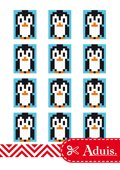 Pixel Vorlage Medaillon - Pinguin(Bastelidee)