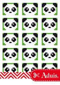 Pixel Vorlage Medaillon - Panda(Bastelidee)