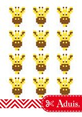 Pixel Vorlage Medaillon - Giraffe(Bastelidee)