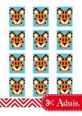 Pixel Vorlage Medaillon - Tiger(Bastelidee)