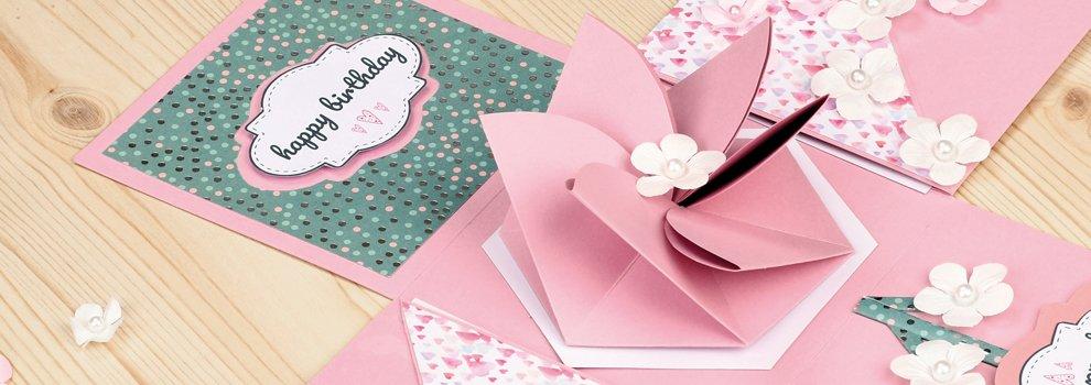 Faltanleitung 8-Eck Papierblume zum Aufklappen