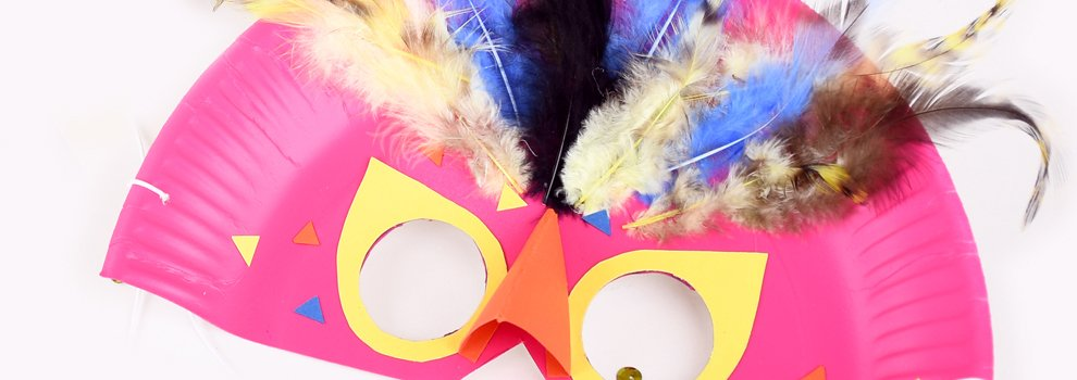 Faschingsmaske Paradiesvogel - aus Papptellern