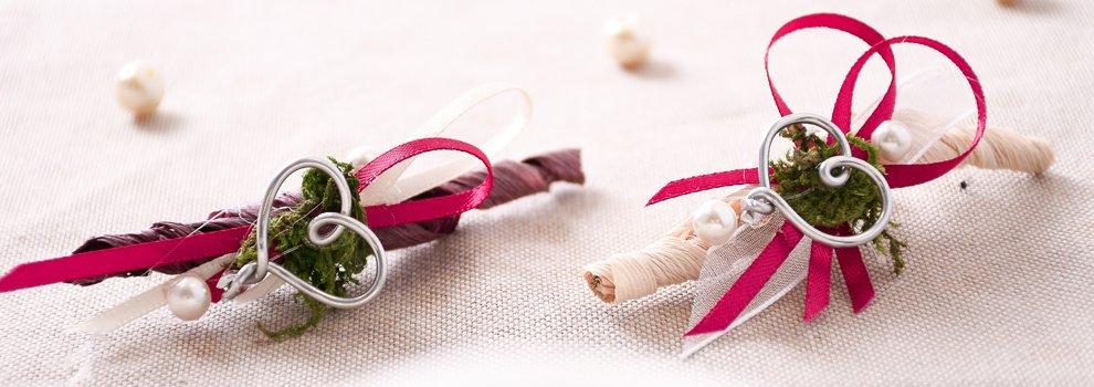 Hochzeitsanstecker aus Naturmaterialien