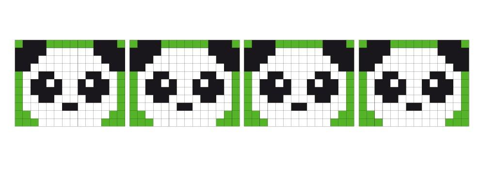 Pixel Vorlage Medaillon - Panda