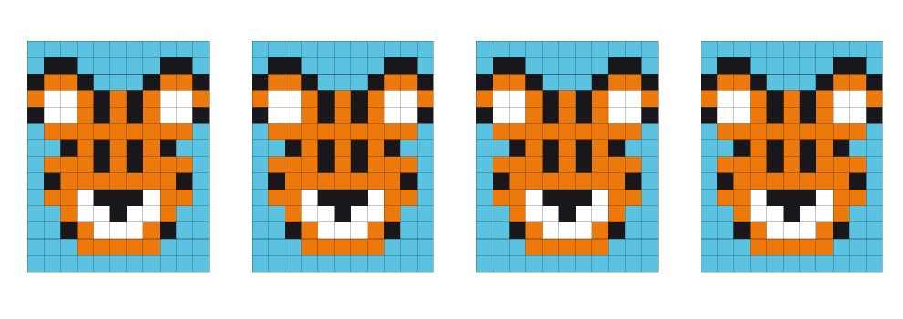 Pixel Vorlage Medaillon - Tiger