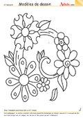 Modèle de dessin - Couronne de fleurs