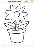 Modèle de dessin - Fleurs dans pot