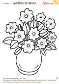 Modèle de dessin - Bouquet dans vase