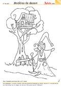 Modèle de dessin - Cabane dans les arbres