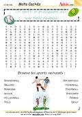 Mots Cachés : Sports de balles