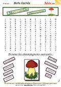 Mots Cachés : Les champignons