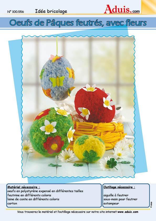 Œufs de Pâques feutrés avec fleurs