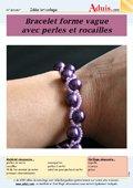 """Bracelet forme """"vagues"""" avec perles et rocailles"""