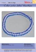 "Collier perles ""hélice"" bleu-blanc"