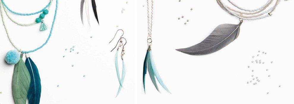 Bijoux tendance avec plumes
