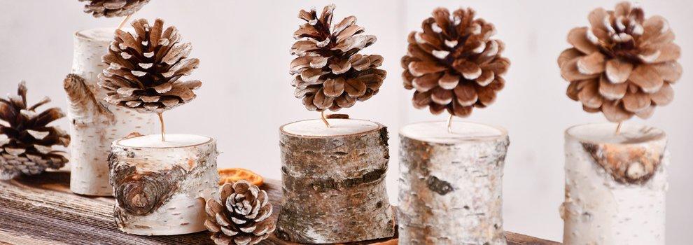 Déco de Noël - Bougie cône en bois
