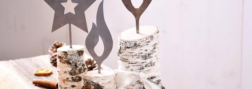 Déco de Noël - Trio de troncs de bouleau