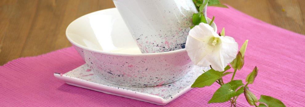 """Décorer la porcelaine : Technique """"Eclaboussure"""""""