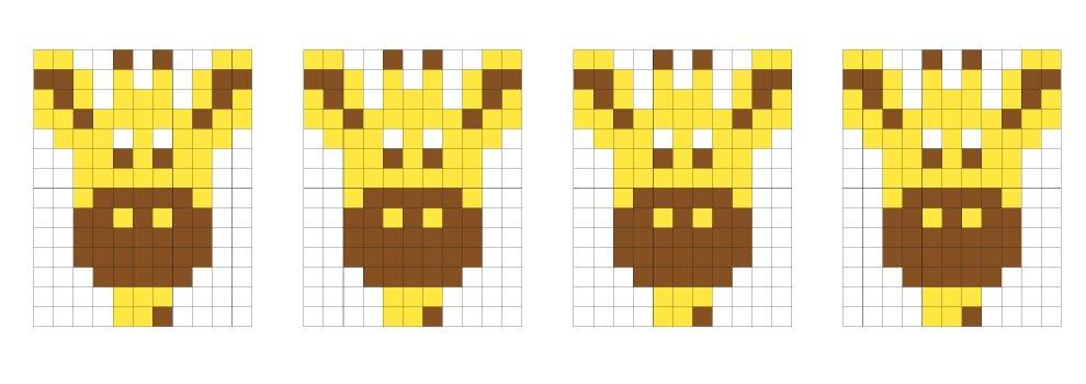 Modèle pour médaillon Pixel - Girafe