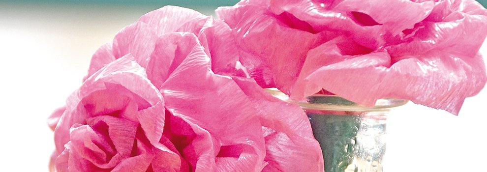 "Roses en crêpon ""imperméables"""
