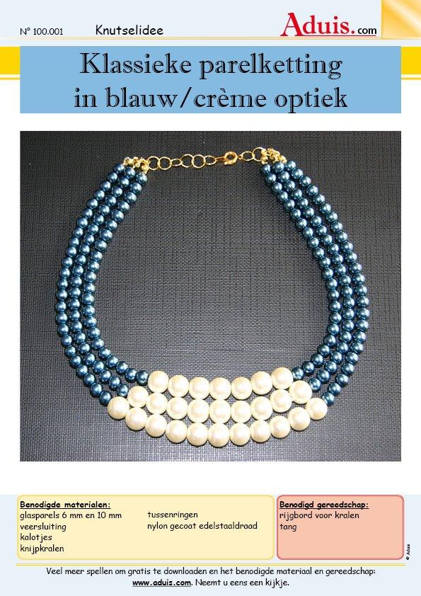 fc92da25d59 Klassieke parelketting in blauw/crème optiek