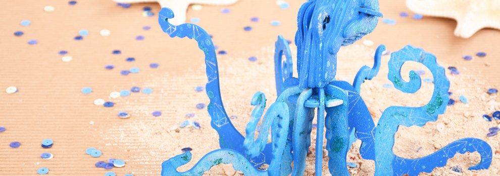 Houten bouwset octopus
