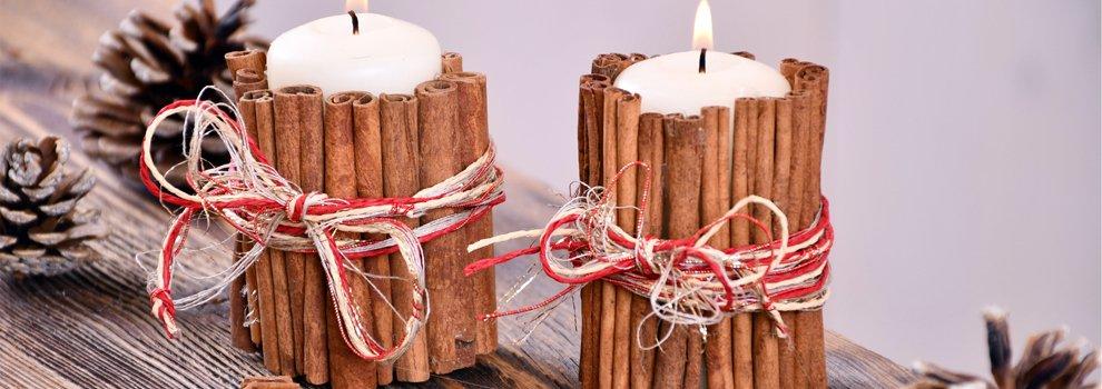 Kaneelstokjes kaars - kerstdecoratie