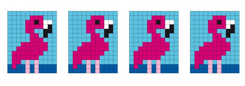 Pixel sjabloon medaillon - flamingo
