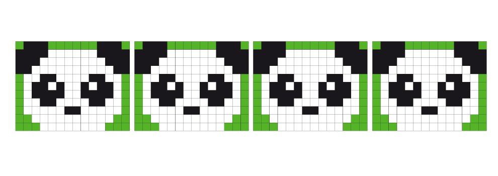 Pixel sjabloon medaillon - panda
