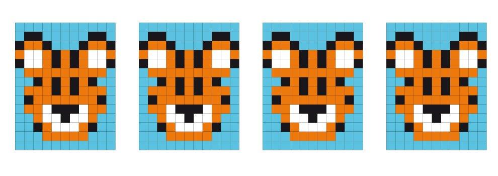 Pixel sjabloon medaillon - tijger