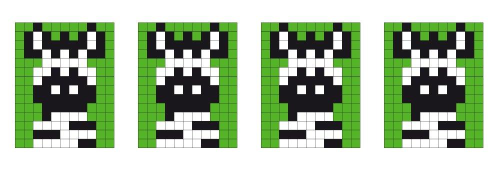 Pixel sjabloon medaillon - zebra