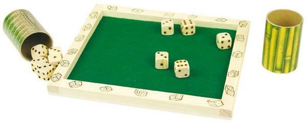 Dobbelsteenbord met 2 bekers