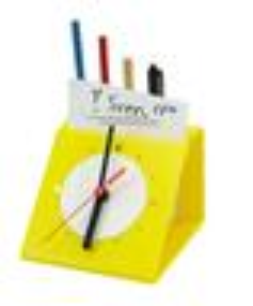 Plexiglas - pennenhouder met klok
