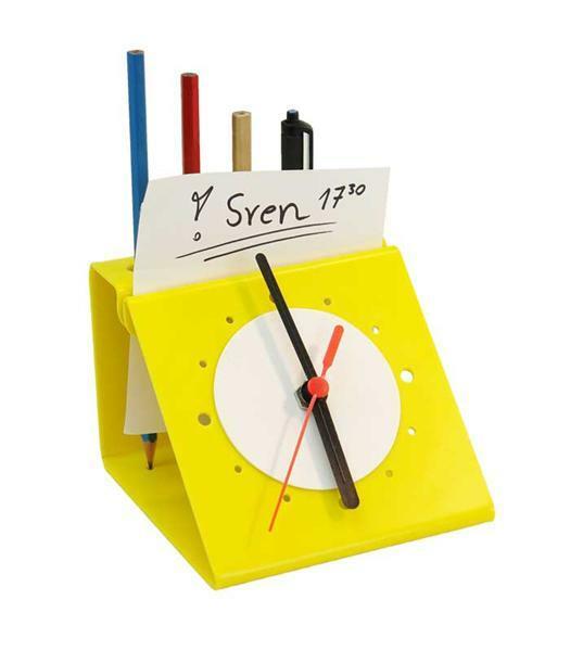 Porte-crayon avec montre en plexiglas