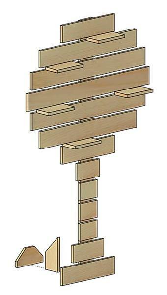 Arbre de décoration en bois
