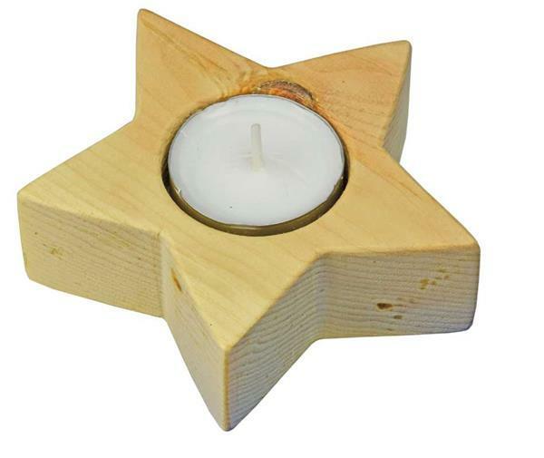 Zirbenholz Teelichthalter Sonne/Stern
