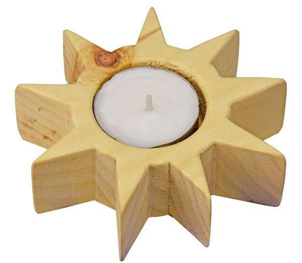 Support de bougie en pin Soleil/Etoile