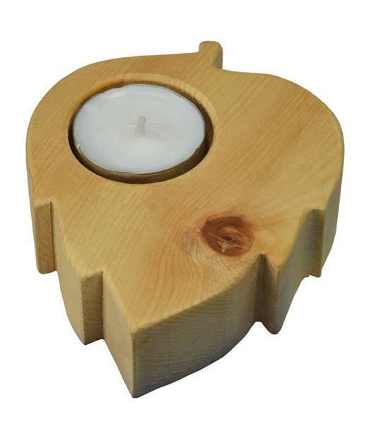 Zirbenholz Teelichthalter Herz/Blatt