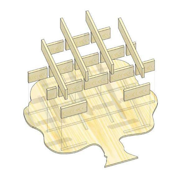 Le présentoir en forme d'arbre ou de cœur