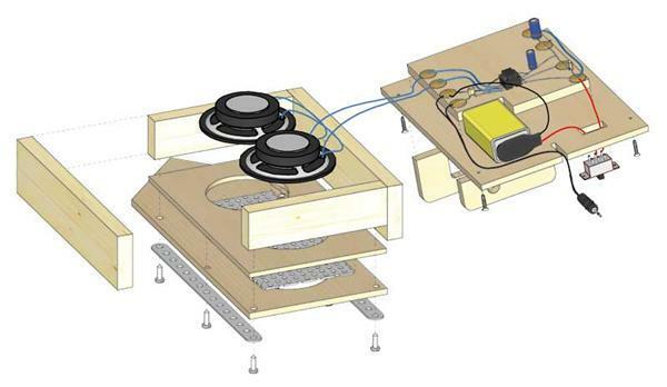 Boîtier-stéréo MP3 - avec cache en bois