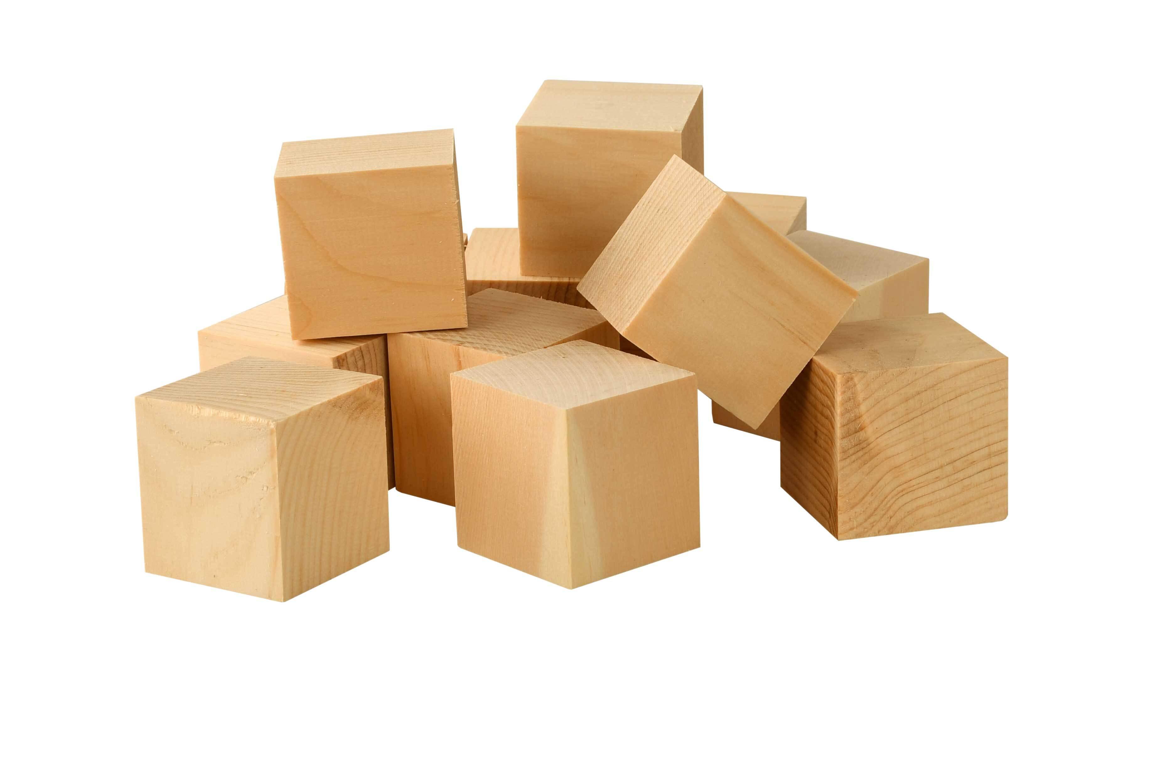 Houten blokjes alpenden, 20 st., 4,2x4,2x4,2 cm