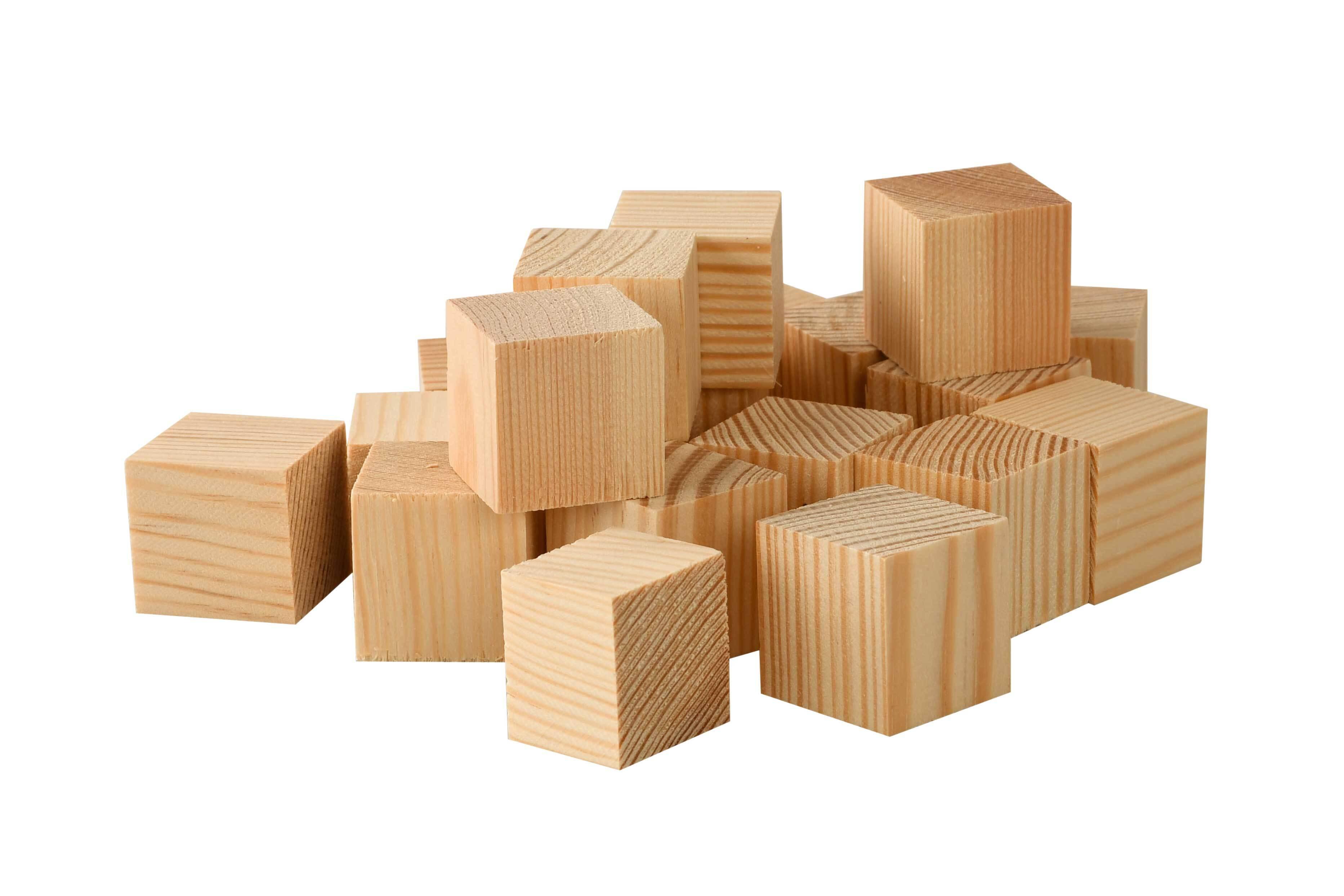 Houten blokjes grenen - groot, 50 st., 3x3x3 cm