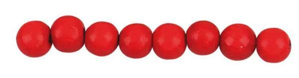 Houten kralen Ø 10 mm - 56 st., rood