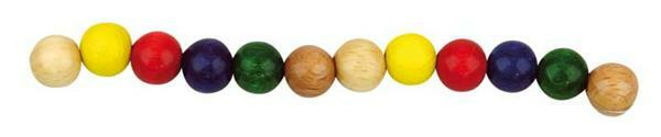 Houten kralen Ø 10 mm - 56 st., gekleurd