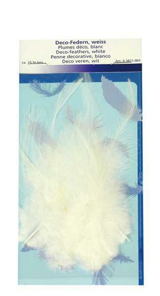 Decoratieve veren - 15 st., wit