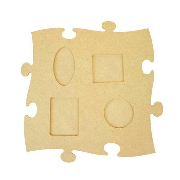 Houten fotolijst puzzel - groot, met vier fotovens